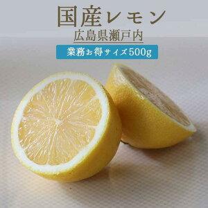 レモン <広島県瀬戸内産> 【500g=5-6個】 低農薬 低化学肥料 防腐剤不使 ノーワックス