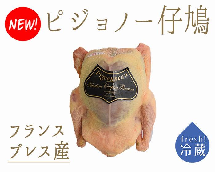 【フレッシュ 冷蔵】食用鳩 仔鳩 ハト (ピジョノー Pigeonneau)頭・内臓付 エトフェ <フランス ブレス産>【1羽=約400-500g】【冷蔵品/冷蔵・常温商品との同梱不可】