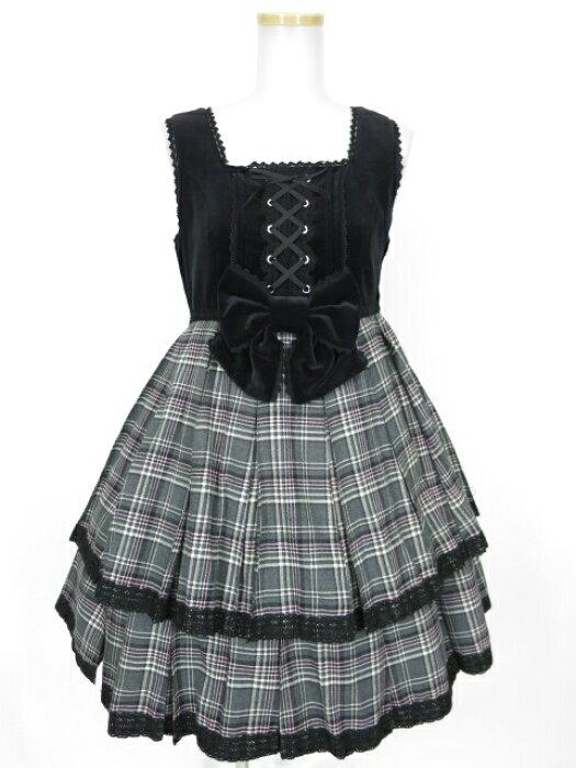 【中古】Angelic Pretty / ハイウエストタータンプリーツジャンパースカート アンジェリックプリティ B11508_1901