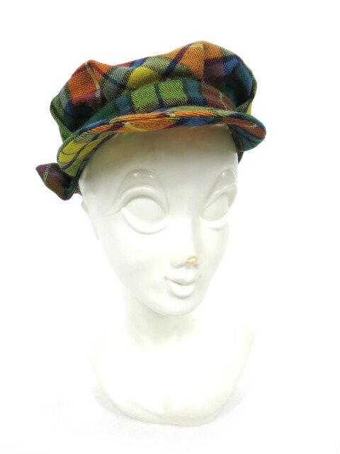 【中古】Jane Marple / チェック柄キャスケット ジェーンマープル 帽子 B13193_1807