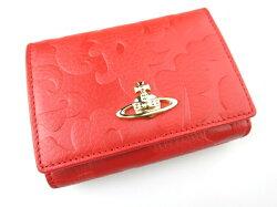 VivienneWestwood/ホック式折り財布(がま口小銭入れ)1311VXエンボス柄ヴィヴィアンウエストウッド赤レッドB16871_1811