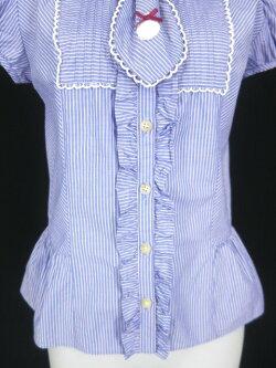 【中古】EmilyTemplecute/レジメンタルストライプ柄ネクタイ付き半袖ブラウスエミリーテンプルキュートB18712_1902