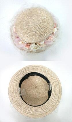 【中古】corgi-corgi/ローズ&チュール付き麦わらハットコーギーコーギー帽子B24011_1909