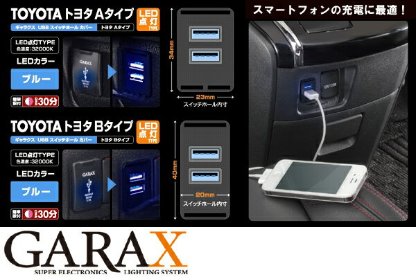 GARAX ギャラクスUSBスイッチホールカバーLED点灯タイプ【トヨタ汎用Aタイプ】