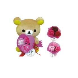 リラックマ ぬいぐるみブーケ W18 x H23 ローズブーケ 選べる花色 母の日 ギフト プレゼント インテリア キャラクター