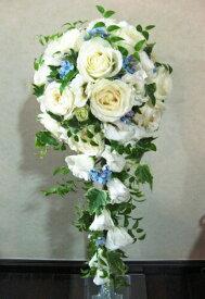 生花 ウェディングブーケ 白バラと水色のキャスケードブーケ(※ブートニア付き) ウェディングフォト レストランウェディング