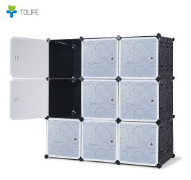 収納家具 組立式 クローゼット ワードロープ 衣装ケース タンス ラック 収納ボックス 3段3列9扉 L002XX DIY シンプル 扉付 カラーボックス 送料無料
