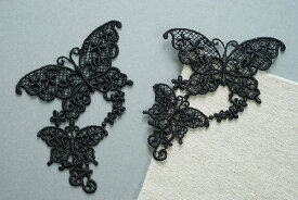 素敵な ダブル 蝶柄 レースモチーフ ブラック 単位一枚