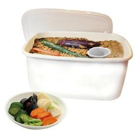 【送料無料】ホーロー ぬか漬け容器 冷蔵庫用・漬物容器・シール蓋付・陶器 水取器付・3.2L・ぬか漬けBOX
