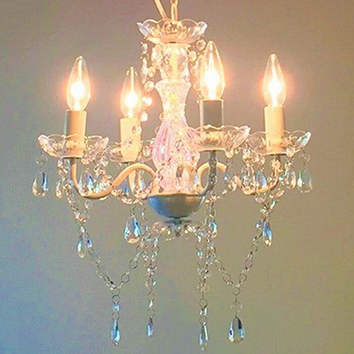 シャンデリア led シャンデリア アンティーク シャンデリア シンプル シャンデリア 可愛い シャンデリアライト 4灯 ホワイト ピンク