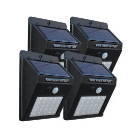 【3種点灯モード】ソーラーライト センサーライト 人感センサー 屋外 防雨 防犯ライト 人感ライト ガーデンライト モーションライト ソーラーセンサライト 25LED または 42LED 4個セット