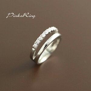 【メール便可】願いが叶いますように!小指の指輪!ピンキーリング完成!CZダイヤ(キュービック・ジルコニア)12石!E-735