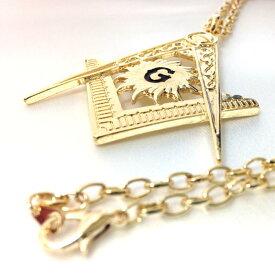 フリーメイソン ロゴ ネックレス・ラージ【メール便可】秘密結社・Freemasonry(ゴールド)