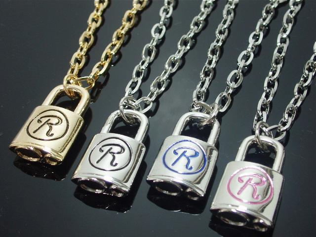 Rock -R- Key Nacklace【メール便可】キーネックレス ロックR 鍵 錠 キー 南京錠 メンズ レディース M-149