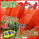 【送料無料】富良野完熟マドンナ!12度以上の超高糖度!究極のスイカ☆超特大4L(約9〜10kg)期間限定販売!