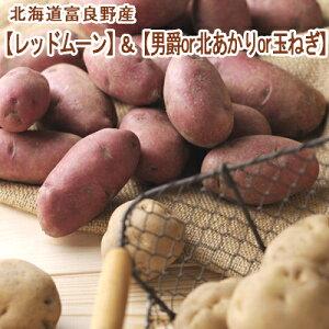 レッドムーン&男爵or北あかりor玉ねぎ 紅白セット10kg 混みサイズ 送料無料 北海道産 じゃがいも 北海道 富良野産