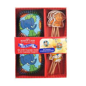 TOMIZ cuoca(富澤商店・クオカ)ケーキデザインカップ&飾りピック 動物 / 24セット ベーキングカップ カップケーキ