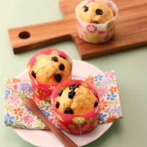 TOMIZ cuoca(富澤商店・クオカ)ホワイティカップ フラワーピンク柄 / 100枚 ベーキングカップ カップケーキ