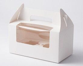 TOMIZ cuoca(富澤商店・クオカ)手提ケーキカップ箱 窓付 2ヶ用 / 1枚 お菓子箱 カップケーキボックス