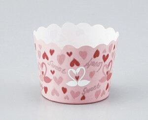 TOMIZ cuoca(富澤商店・クオカ)マフィンカップ ハートスワン ピンク / 100枚 ベーキングカップ マフィンカップ