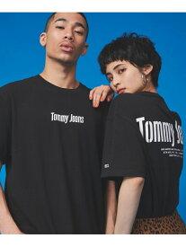 [Rakuten Fashion]【SALE/40%OFF】(U)TOMMY HILFIGER(トミーヒルフィガー) バックロゴTシャツ TOMMY JEANS トミーヒルフィガー カットソー Uネックカットソー ブラック ホワイト【RBA_E】