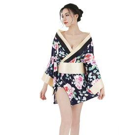 あす楽 ミニ丈 セクシー着物ドレス コスプレ衣装ピンク(大きい花)2