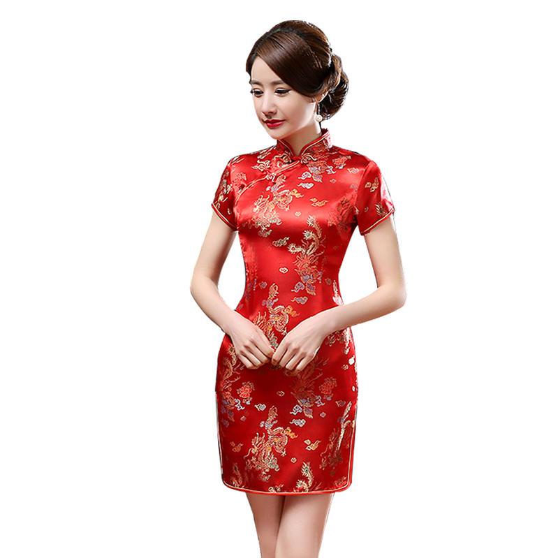 あす楽 龍鳳柄 ショート丈 ミニ セクシー チャイナドレス コスプレ 衣装 中国ドレス 赤