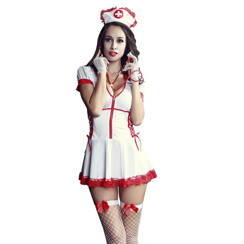 【白/8】あす楽 聴診器 ストッキング付き ナース服 コスプレ 看護婦 白衣天使 女子制服 衣装 コスプレ コスチューム 仮装