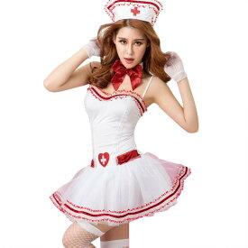 【白/6】あす楽 ストッキング付き パニエスカート ナース服 コスプレ 看護婦 白衣天使 衣装 コスチューム 仮装