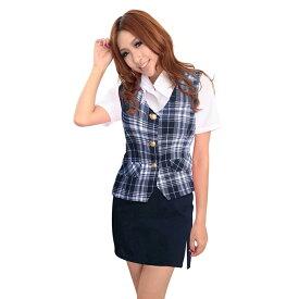 あす楽 半袖 チェック ブラウス OL 制服 オフィス コスプレ 衣装 レディース コスチューム コス