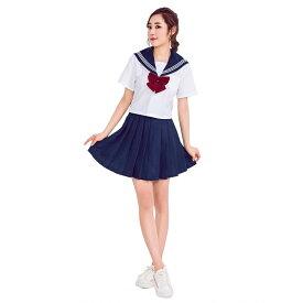 【白/3】あす楽 白 半袖 リボン 女子高生 jk 制服 セット スクール コスプレ セーラー服 セクシー 衣装 スカート