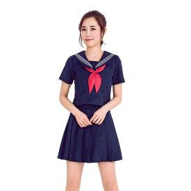 【紺色/3】あす楽 紺色 半袖 リボン 女子高生 jk 制服 セット スクール コスプレ セーラー服 セクシー 衣装 スカート