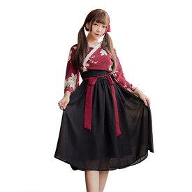 【3】あす楽 黒いスカート 着物ドレス コスプレ 衣装 和服