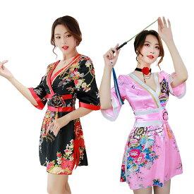 【2色】あす楽 ミニ セクシー 着物 ドレス 派手 和服 レディース コスプレ 衣装 花魁