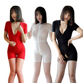 【3色】あす楽 半袖 ボディスーツ コスプレ衣装 ランジェリー レディース セクシー 女性下着 オープンクロッチ