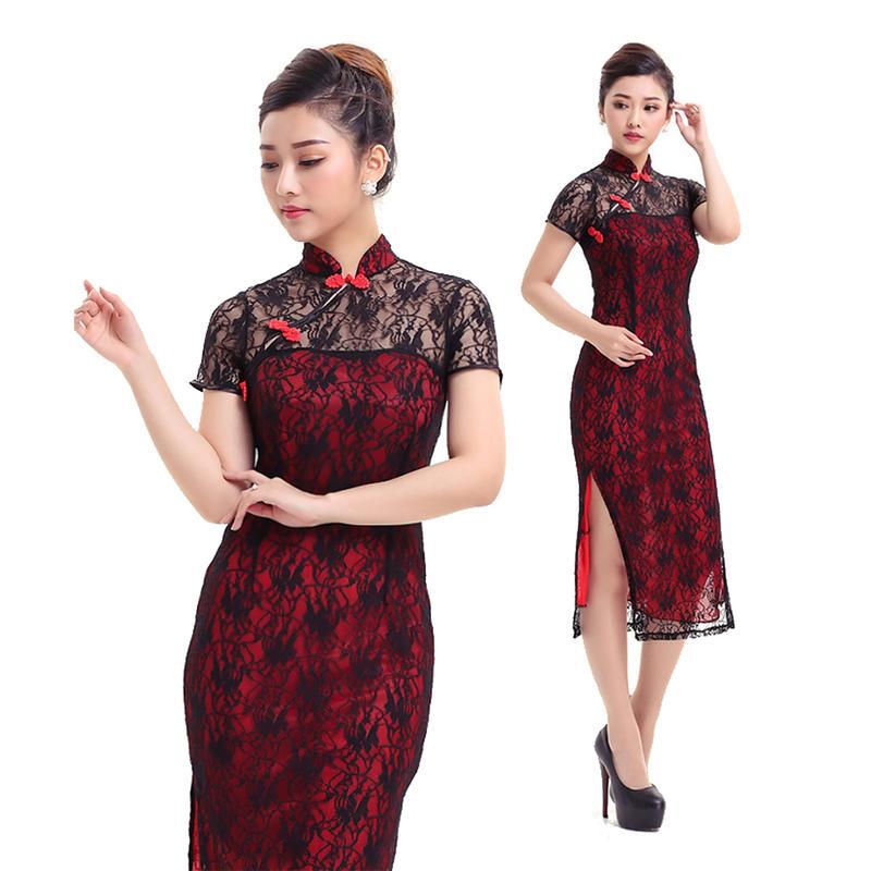 あす楽 赤 ロング丈ドレス チャイナ風 レディース ワンピース ドレス コスプレ コスチューム ファッション 衣装 制服