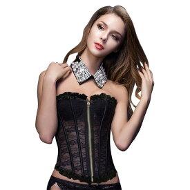 【黒】あす楽対応 コルセット ビスチェ 補正下着 編み上げ 花柄 ドレス セクシー コスプレ 衣裳 衣装 ボディスーツ