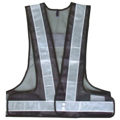 A-AB101 安全ベスト 反射ベスト フリーサイズ 紺/白(メッシュ部:紺/反射部:白) 反射部50巾