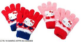 ハローキティ キャラクター 五指 手袋 (日本製 国産 防寒 かわいいおすすめ 子供 ぽかぽか キャラクター)