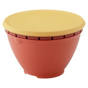 ザル ボール フタ付セット 深型 防汚 抗菌 レンジ対応 食洗機対応 日本製 レッド リス ふた付きボールコランダーS