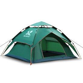 【送料無料】ワンタッチテント 3〜4人用Hotwolf 2層材料 設営簡単 折りたたみ 防水 防風 UVカット通気 アウトドアキャンプ用品cpc