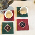 モン族刺繍コースター4枚セットモン族/手刺繍/高品質/山岳民族/リネン/コースター
