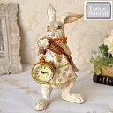 【バロックラビット時計】アンティーク調 雑貨 ウサギ 置き時計 クロック ボタン電池付き レトロ ギフト プレゼント