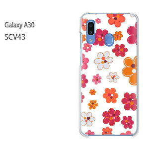 ゆうパケ送料無料 Galaxy A30 SCV43scv43 ギャラクシー galaxya30 au simフリークリア 透明 スマホケース カバー ハード ポリカーボネート[花(白)/scv43-pc-new1729]