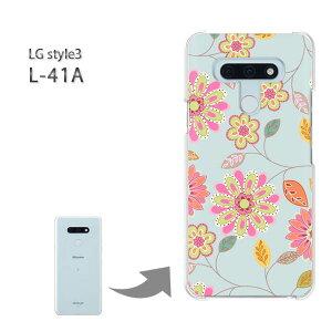 ゆうパケ送料無料 LG style3 L-41A ケースl41a lgstyle3 スタイル3 PCケース おしゃれ 人気 カワイイアクセサリー スマホケース カバー ハード ポリカーボネート[花・レトロ(ブルー)/l41a-pc-new1719]
