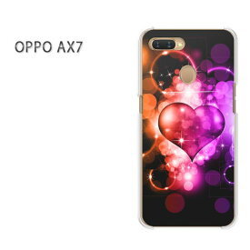ゆうパケット送料無料 OPPO AX7楽天モバイル ax7 ケース カバークリア 透明 ハードケース ハードカバーアクセサリー スマホケース スマートフォン用カバー [ハート(紫)/ax7-pc-ne081]