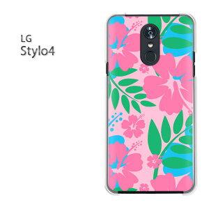 ゆうパケット送料無料 LG stylo4lg スタイル STYLO4 simフリースマートフォン おしゃれ 人気 カワイイアクセサリー スマホケース カバー ハード ポリカーボネート[花・ハイビスカス(ピンク)/stylo4-p