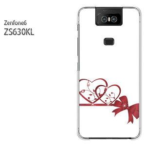 ゆうパケ送料無料 ZenFone6 ZS630KL ゼンフォンASUS zenfon6アクセサリー スマホケース カバー ハード ポリカーボネート[ハート・リボン(白・赤)/zs630kl-pc-new0608]