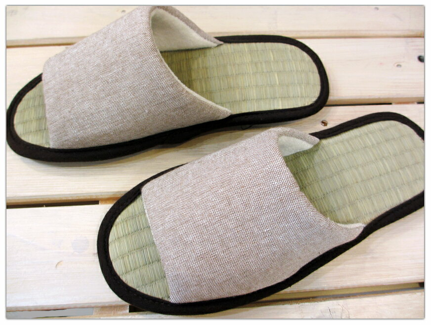 い草の畳中スリッパ コットンダンガリー無地 ウォッシュドブラウン/M・L【薄手で涼しい!男女サイズあり】