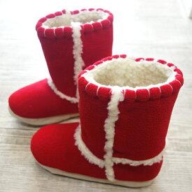 フリースロングルームブーツ クロスボア レッド(赤)/Mサイズ(〜24cm程度まで)【ボアがもこもこ!高さ23cm】